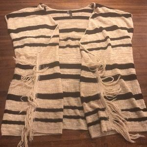Tan and black striped vest with fringe